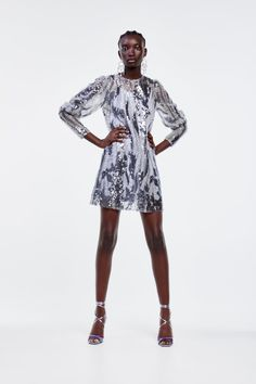 ZARA - Female - Limited edition tulle and sequin dress - Only one - S Zara Trends, Sparkle Outfit, Sequin Appliques, Mini Vestidos, Zara Dresses, Sequin Dress, Spring Outfits, Sequins, High Neck Dress