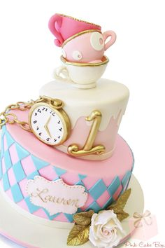 "Whimsical ""ONEderland"" Cake, by Francesca. Lauren's First Birthday Cake. First Birthday Cakes, Birthday Cake Girls, First Birthday Parties, First Birthdays, Birthday Ideas, 2nd Birthday, Pink Cake Box, Alice In Wonderland Cakes, Wonderland Party"