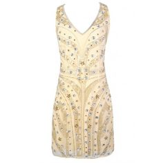 Golden Twenties Beaded and Sequin Dress (9945 RSD) ❤ liked on Polyvore featuring dresses, sequin dresses, beige cocktail dress, flapper dress, sequin cocktail dresses and 1920s cocktail dresses