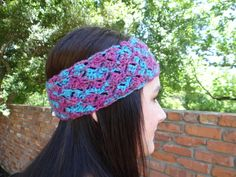 Summer Style. Crocheted Wide Headband, Pink and Blue