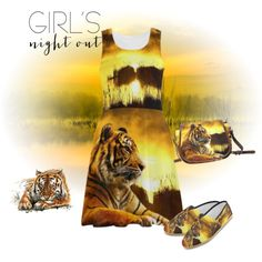 Tiger and Sunset summer dress, saddle bag and causal canvas shoes.. FREE Shipping. Buy on http://www.artsadd.com/store/erikakaisersot?rf=11001