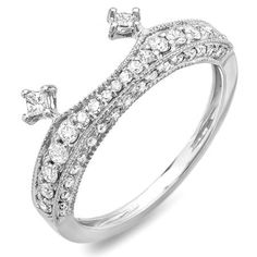 Share and get $20 off your order of $100 or more. 0.50 Carat (ctw) 14k White Gold Round & Princess Diamond Ladies Bridal Anniversary Wedding Enhancer Guard Band 1/2 CT - Dazzling Rock #https://www.pinterest.com/dazzlingrock/