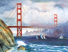 Corporate Art by acclaimed San Francisco Watercolor Artist Dale Perkins - for the office, for the home and for the board room. Pen And Watercolor, Watercolor Artists, Watercolor Paintings, Watercolors, Food Art Painting, New York Painting, San Francisco Art, Art Thou, San Fransisco