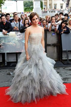 """""""Emma Watson Evening Dress"""" -   Emma looked like a modern-day princess in a dove gray tulle confection for the UK 'Harry Potter' premiere.  Brand: Oscar de la Renta"""