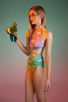 Cutout swimsuit with alien heads x