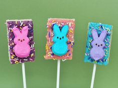 Rice Krispie Treat pops with Peeps.