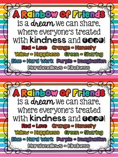 A Rainbow of Friends! A fun beginning of the year snack and activity freebie! Keepinitkoolinkinderland.blogspot.com