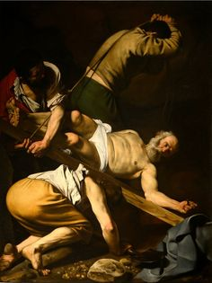 """The Crucifixion of Saint Peter"" 1601 Cerasi Chapel, Santa Maria del Popolo, Rome. Michelangelo Merisi of Caravaggio Baroque Painting, Baroque Art, Italian Painters, Italian Artist, Rembrandt, Michelangelo Caravaggio, Chiaroscuro, Sacred Art, Renaissance Art"