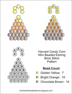 Cute Mini Harvest Candy Corn Halloween Beaded Earring