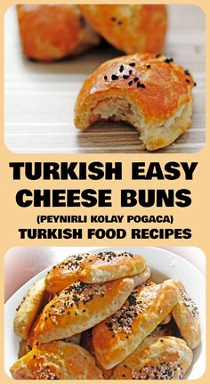 Turkish Easy Cheese Buns - Peynirli Kolay Pogaca Recipe - amazing taste, i accidentally used kalonji instead of sesame but taste was perfect. Use less cheese in middle next time. But after one u feel acidity so maybe try another lighter version Turkish Breakfast, Breakfast Dishes, Best Breakfast, Turkish Snacks, Turkish Recipes, Romanian Recipes, Scottish Recipes, Slow Cooking, Cooking Recipes