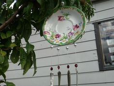 My favourite! I love this windchime - I hope it can bring quiet joy to someone! Broken China Jewelry, Tea Set, Wind Chimes, How To Memorize Things, Bring It On, Buttons, Display, Jewellery, Canning