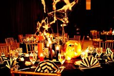 Spooky But Elegant Halloween Wedding Table Settings - Weddingomania