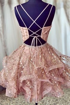 Unique Pink Lace Tulle Short Prom Dress, Open Back Homecoming Dress from Sweetheart Dress - Care - Skin care , beauty ideas and skin care tips Dama Dresses, Cute Prom Dresses, Quince Dresses, Grad Dresses, 15 Dresses, Quinceanera Dresses, Formal Dresses, Sparkly Homecoming Dresses, Fashion Dresses