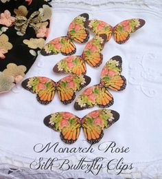 Monarch Rose Silk Butterfly Hair Clip by flutter2me on Etsy