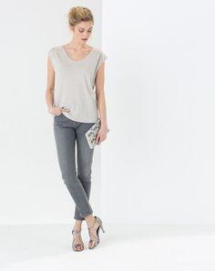 Jean gris clair 7/8ème avec poches zippées Domitille 4 1.2.3