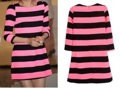 2014 Spring Summer New Fashion Casual Women Long Sleeve Dress Sexy Cute Neon Pink and Black Striped Dresses Plus Large Big Size