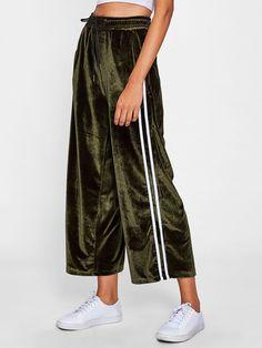 Shein Striped Tape Side Velvet Wide Leg Pants