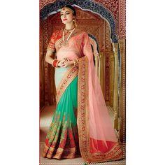 Pink,Green Color Saree at Rs.7,518.91  #saris #indianfashion #trend #musthave #pink #sanginionline #indianfashion #sinduri