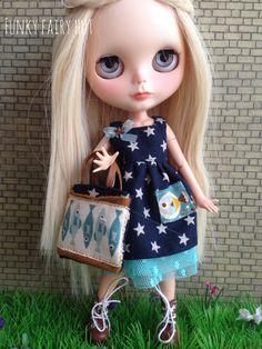 "Blythe Dress ""Nautical"".Blythe Clothes.Blythe outfit.Blythe accessories. 1/6 scale outfit.1/6 scale dress.1/6 scale accessories. de FunkyFairyHut en Etsy"