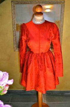 Red Brocade Dress Oscar de la Renta Inspired