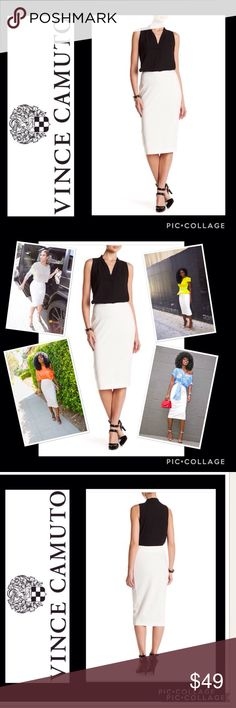 Vince Camuto Tux Ponte Pencil Midi Skirt READ SIZING.  How many ways can you rock this creamy white pencil midi skirt by Vince Camuto. Color is called buttercream. Elastic waist, seam embellishments. One size Large=12/14. Images 2 & 5 for styling ideas only Vince Camuto Skirts Pencil