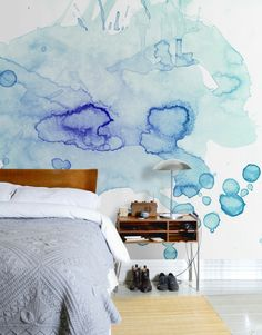 modern wall decorating with interior paint and watercolor decoration patterns - Bedroom Design Ideas Watercolor Wallpaper, Watercolor Walls, Watercolors, Watercolor Design, Easy Watercolor, Creative Wall Painting, My New Room, Diy Wall, Wall Decor
