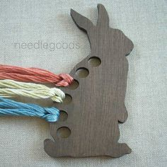 RABBIT wooden embroidery floss organizer brown by needlegoods, $10.00