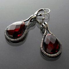 Sylvia White - Galadryl Schmuckdesign auf KUSELVER, Rote elegante Sterling Silber Kristall Ohrringe