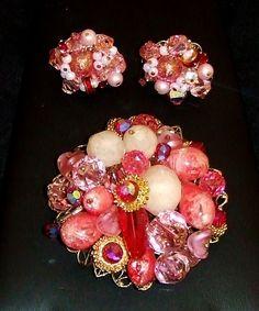 1307~Vtg Signed Alice Caviness Goldtone Pink Rhinestone Bead Demi Brooch Earring #AliceCaviness
