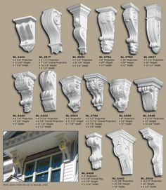 Polyurethane Corbels, pg 1 - Read more about Polyurethane. or order a small Sample Corbels may be hollowed out on top or back. Architectural Salvage, Architectural Elements, Cornice Design, House Front Design, False Ceiling Design, Diy Interior, Wood Design, Architecture Details, Diy Furniture
