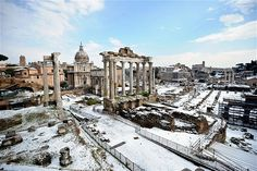 A view of the ancient Forum covered in snow in Rome. Heavy snowfalls in Rome caused the normally mild-weather Italian capital to grind to a halt.