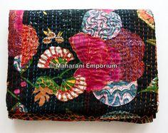 BLACK FLORAL COTTON QUEEN KANTHA QUILT BEDDING BEDSPREAD INDIAN BLANKET THROW #MaharaniEmporium #Modern
