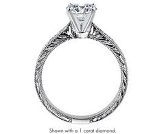 Engraved Micropave Diamond Engagement Ring