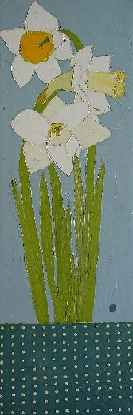 Daffodils with Polka Dots by Karen Tusinski, oil and graphite on canvas, 36 x 12"