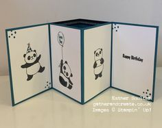 Fancy Fold card using Stampin' Up Party Pandas, free with £45 spend during Sale-a-Bration. Instructions on the blog. Esther Boulter/ Gather and Create.