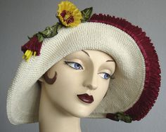 1940's Style Sundress Hat - Red Pleated Rayon Ribbon On Crochet Cotton