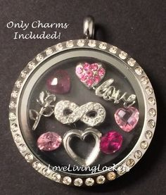 Heart, Rose , Infinity & Scripted Love Valentine's Day Floating Charm Set for Origami Owl Living Lockets - CHARMS ONLY