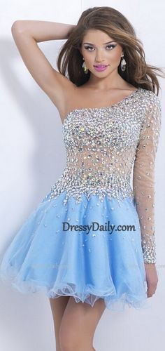 First of all I LOVE THE BLUE!! But then the sheer material and the jewels make this dress look absolutely flawless.