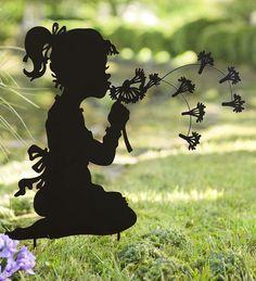 Dandelion Girl Silhouette Metal Garden Stake