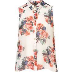Floral Print Drop Back Shirt via Polyvore