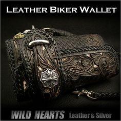WILD HEARTS | Rakuten Global Market: Carved Leather 3/Tri-fold Biker Wallet Python Onyx Silver Concho Wallet chain WILD HEARTS Leather & Silver Item ID lw2459