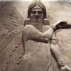 An Assyrian artifact is displayed at the Iraqi National Museum in Baghdad