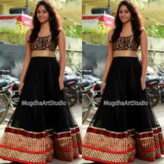 Black Floor Length Anarkali Celebrity Sarees, Designer Sarees, Bridal Sarees, Latest Blouse Designs 2014 South India Fashion