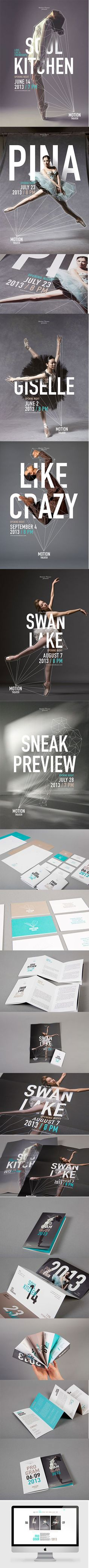 Motion Theater promotion design: flyer, Poster, Homepage | typography / graphic design: Caroline Grohs @ behance | Más
