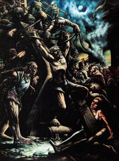 Crucifixion of Saint Andrew by Peter Howson the contrast in this piece is mesmerising the strobed use of highlight with slight use of colour is beautiful