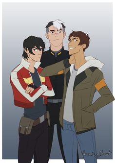 Keith and Lance and Shiro from Voltron Legendary Defender