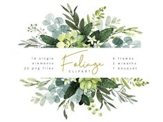 Trendy watercolor clipart with eucalyptus greenery and green twigs. This bundle includes 6 frame compositions, 2 wreaths, 1 bouquet and 16 single elements.Foliage watercolor clipart by AnnelyBlooms on Watercolor Clipart, Watercolor Illustration, Graphic Illustration, Watercolour, Watercolor Leaves, Creative Illustration, Watercolor Wedding, Art Vintage, Eucalyptus Wedding