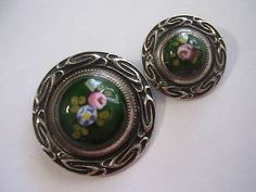 Rare Antique French Enamel Floral Mother/Daughter Buttons; Circa 1880's/1890's
