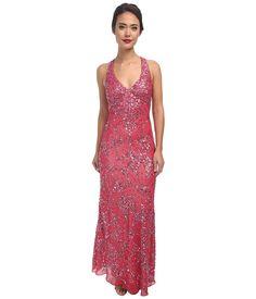 Pink 1920s prom dress - Adrianna Papell Dream Girls Bead Prom Gown (Geranium) Women's Dress