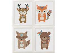 Bebê crucifixos padrão animal raposa veado by AnimalsCrossStitch